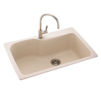 Swanstone KSSB-3322-018 Large Single Bowl Kitchen Sink - Bisque ( Pictured in Tahiti Sand )
