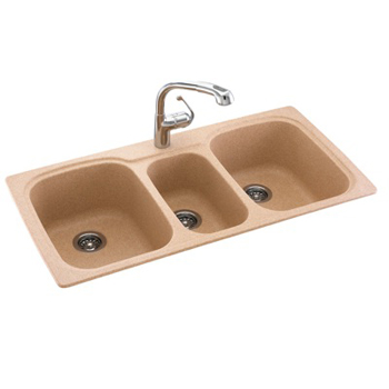 Triple Sink Faucet : KSTB-4422-018 Swanstone Triple Bowl Kitchen Sink - Bisque (Pictured in ...