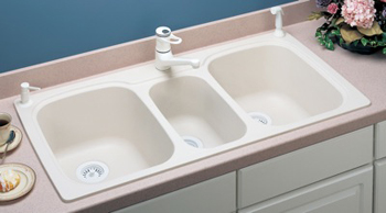 Swanstone KSTB-4422-010 Triple Bowl Kitchen Sink - White