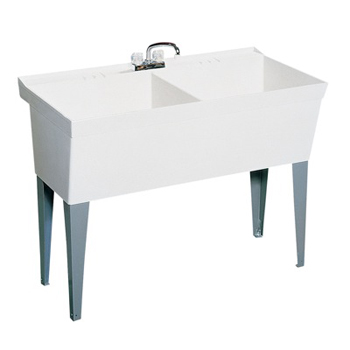 Swanstone MF-2F Double Bowl Laundry Tub - White