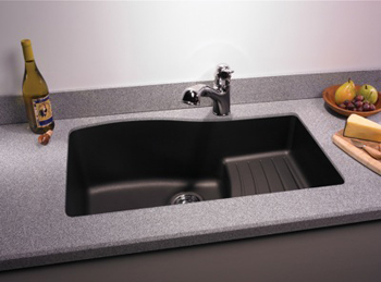 Swanstone QUAD-3322-077 Granite Large Undermount Ascend Single Bowl Kitchen Sink - Nero