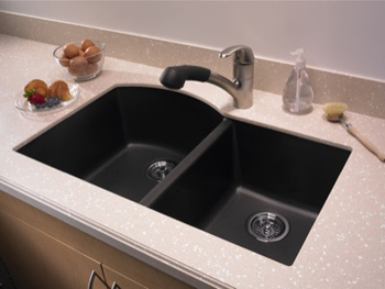 Swanstone QUDB-3322-077 Granite Undermount Double Bowl Kitchen Sink - Nero