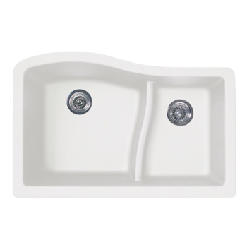 Swanstone QULS-3322-075 Granite Large/Small Undermount Double Bowl Kitchen Sink - Bianca