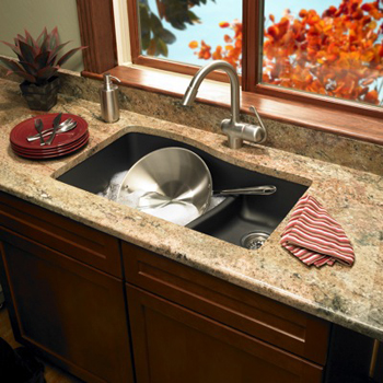 Swanstone QULS-3322-077 Granite Large/Small Undermount Double Bowl Kitchen Sink - Nero
