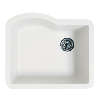 Swanstone QUSB-2522-077 Granite Undermount Single Bowl Kitchen Sink - Nero (Pictured in Bianca)