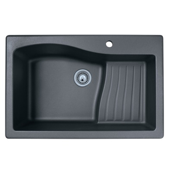 Swanstone QZAD-3322-170 Large Single Ascend Bowl Drop-In Kitchen Sink - Espresso ( Pictured in Nero )