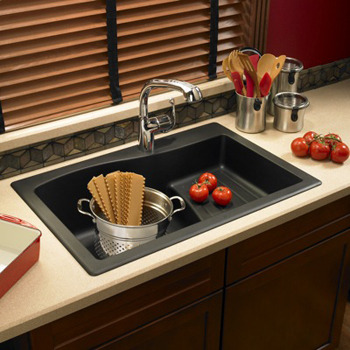 Swanstone QZAD-3322-077 Large Drop-In Ascend Single Bowl Kitchen Sink - Nero