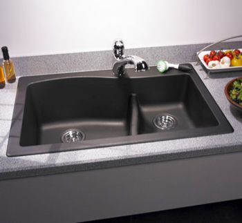 Stone Sinks For Kitchen : -170 Swanstone Granite Large/Small Double Bowl Drop-In Kitchen Sink ...