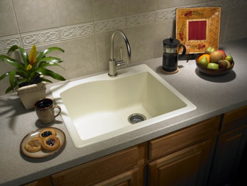 Swanstone QZSB-2522-170 Granite Single Bowl Drop-In Kitchen Sink - Espresso ( Pictured in Bianca )