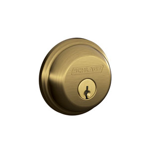Schlage B60N 609 Keyed 1 Side Deadbolt - Antique Brass