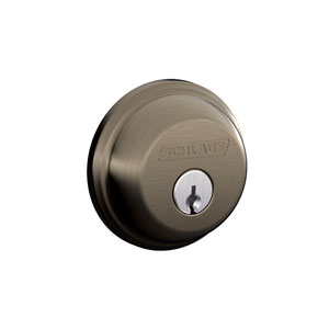Schlage B60N 620 Keyed 1 Side Deadbolt - Antique Pewter