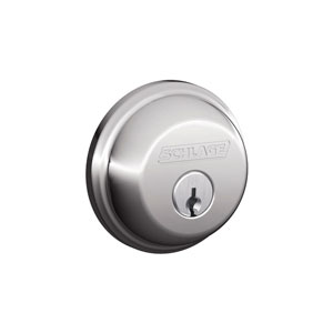 Schlage B60N 625 Keyed 1 Side Deadbolt - Bright Chrome