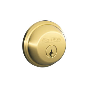 Schlage B62N 505 Keyed 2 Sides Deadbolt - Bright Brass
