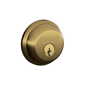 Schlage B62N 609 Keyed 2 Sides Deadbolt - Antique Brass
