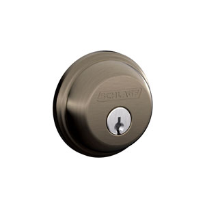 Schlage B62N 620 Keyed 2 Sides Deadbolt - Antique Pewter