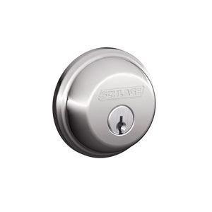 Schlage B62N 625 Keyed 2 Sides Deadbolt - Bright Chrome