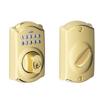 Schlage BE365 CAM 505 Camelot Keypad Deadbolt - Bright Brass