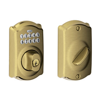 Schlage BE365 CAM 609 Camelot Keypad Deadbolt - Antique Brass