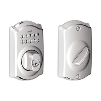 Schlage BE365 CAM 625 Camelot Keypad Deadbolt - Bright Chrome