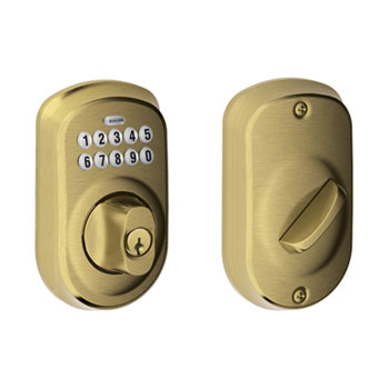Schlage BE365 PLY 609 Plymouth Keypad Deadbolt - Antique Brass