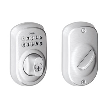 Schlage BE365 PLY 626 Plymouth Keypad Deadbolt - Satin Chrome