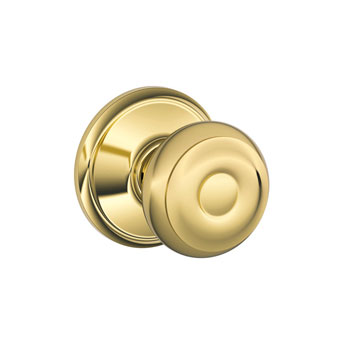 Schlage F10 GEO 605 Georgian Hall and Closet Knob - Polished Brass