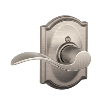 Schlage F170 ACC 619 CAM LH Camelot Collection with Left Hand Accent Decorative Trim Lever - Satin Nickel