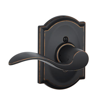 Schlage F170 ACC 716 CAM LH Camelot Collection with Left Hand Accent Decorative Trim Lever - Aged Bronze