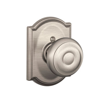 Schlage F170 GEO 619 CAM Camelot Collection with Georgian Decorative Trim Knob - Satin Nickel