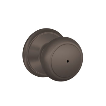 Schlage F40 AND 613 Andover Bed and Bath Lock Knob - Oil Rubbed Bronze