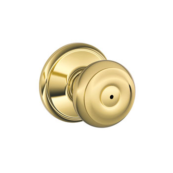 Schlage F40 GEO 605 Georgian Bed and Bath Lock Knob - Bright Brass