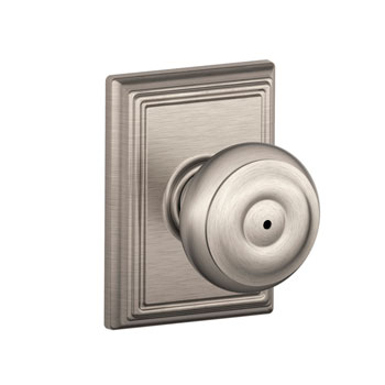 Schlage F40 GEO 605 ADD Addison Collection Georgian Bed and Bath Knob - Satin Nickel