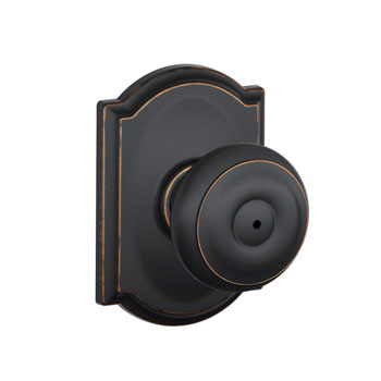 Schlage F40 GEO 716 CAM Camelot Collection Georgian Bed and Bath Knob - Aged Bronze