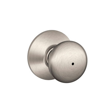 Schlage F40 PLY 619 Plymouth Bed and Bath Lock Knob - Satin Nickel