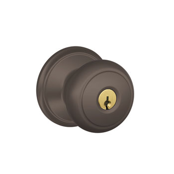 Schlage F51 AND 613 Andover Keyed Entrance Lock Knob - Oil Rubbed Bronze