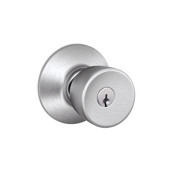 Schlage F51 BEL 626 Bell Keyed Entrance Lock Knob - Satin Chrome