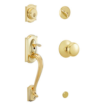Schlage F60 CAM 505 PLY Camelot Decorative Handleset with Plymouth Knob - Bright Brass