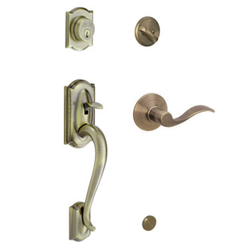 Schlage F60 CAM 609 ACC RH Camelot Handleset with Right Handed Accent Lever - Antique Brass