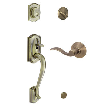 Schlage F60 CAM 609 ACC LH Camelot Handleset with Left Handed Accent Lever - Antique Brass