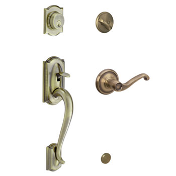 Schlage F60 CAM 609 FLA RH Camelot Handleset with Right Handed Flair Lever - Antique Brass