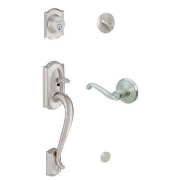 Schlage F60 CAM 619 FLA LH Camelot Handleset with Left Handed Flair Lever - Satin Nickel