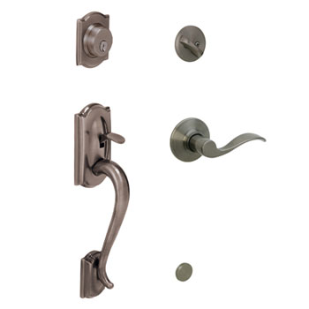 Schlage F60 CAM 620 ACC RH Camelot Handleset with Right Handed Accent Lever - Antique Pewter