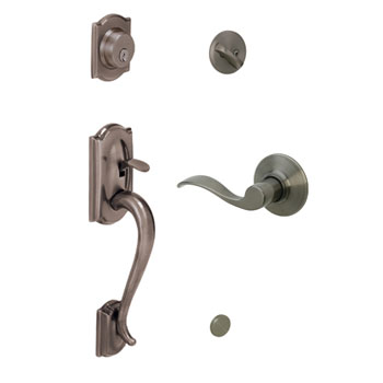 Schlage F60 CAM 620 ACC LH Camelot Handleset with Left Handed Accent Lever - Antique Pewter