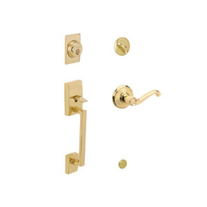 Schlage F60 CEN 505 FLA RH Century Keyed 1 Side Handleset with Right Handed Flair Lever - Bright Brass