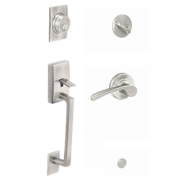 Schlage F60 CEN 619 MER LH Century Keyed 1 Side Handleset with Left Handed Merano Lever - Satin Nickel