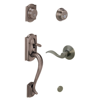 Schlage F62 CAM 620 ACC LH Camelot Keyed 2 Sides Handleset with Left Handed Accent Lever - Antique Pewter