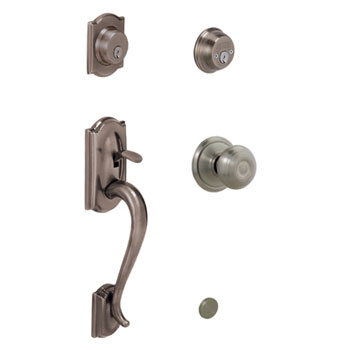 Schlage F62 CAM 620 GEO Camelot Keyed 2 Sides Handleset with Georgian Knob - Antique Pewter