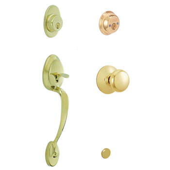 Schlage F62 PLY 505 PLY Plymouth Double Cylinder Handleset with Plymouth Knob - Bright Brass