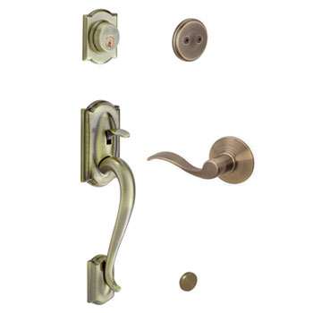 Schlage F93 CAM 609 ACC LH Camelot Decorative Handleset with Left Handed Accent Lever - Antique Brass