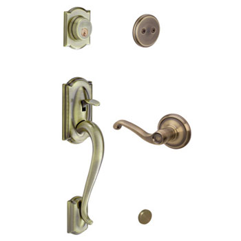 Schlage F93 CAM 609 FLA LH Camelot Decorative Handleset with Left Handed Flair Lever - Antique Brass